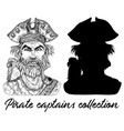 angry pirate captain and silhouette vector image