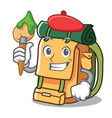 artist backpack character cartoon style vector image