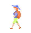 backpacker girl in hat flat vector image