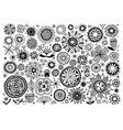 big set doodle sketch flower design elements vector image vector image