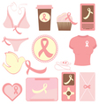 Breast cancer items vector image vector image