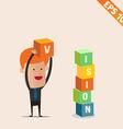 Cartoon Businessman stacking box - - EPS10 vector image vector image