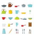 cartoon flat set of dish icons vector image