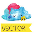 cartoon night scene with cute cloud and star vector image vector image