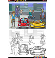 cartoon people on street coloring book page vector image vector image