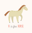 cartoon white horse h is for horse cartoon vector image vector image