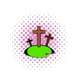 Cemetery icon in comics style vector image vector image