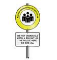 comical neighborhood watch scheme sign vector image vector image