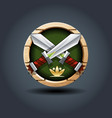 crossed swords wooden rounded badge icon for ui vector image
