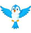 Cute cartoon blue bird flying vector image vector image