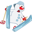 Cute Snowman Ski Jumping vector image vector image