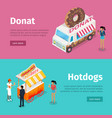 donut and hotdogs mobile umbrella carts poster vector image