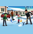 family shoveling snow in front of their house vector image