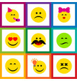 flat icon expression set of frown cheerful have vector image vector image
