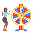 fortune wheel and excited woman game and roulette vector image vector image