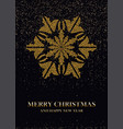 golden snowflake on a black background postcard vector image