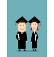 Graduates in black graduation mantle and cap vector image vector image