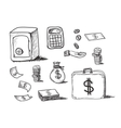 hand drawn business icons vector image