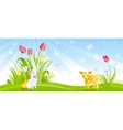 Happy Easter banner border Spring landscape blue vector image