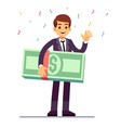 happy teenager winner holding money dollars prize vector image vector image
