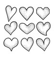 heart symbol set sketch engraving vector image