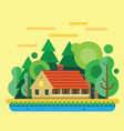 House in forest summer landscape vector image vector image