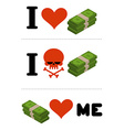 I love money Dollars love me Logo for financiers I vector image vector image