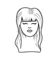 line cute woman face with hairstyle vector image vector image