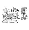 line drawing a cozy living room hand drawn vector image