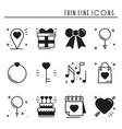 love line icons set happy valentine day vector image vector image