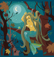 mermaid on a tree vector image