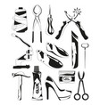 monochrome pictures set shoes repair tools vector image vector image