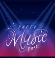 party music fest spot light blue background vector image