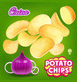 potato chips whith onion flavor advertising vector image vector image