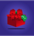 red gift box on a blue background vector image