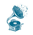 retro musical gramophone drawn vintage phonograph vector image