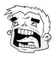 screaming head black vector image vector image