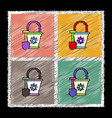 set of flat shading style icons shovel and bucket vector image vector image