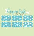 set of origami bird seamless pattern collection vector image vector image