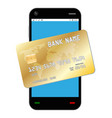 smartphone with golden credit card vector image vector image