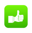 thumb up gesture icon digital green vector image vector image