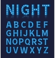 Vintage blue light bulb lamp font or alphabet vector image