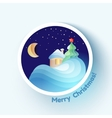 Winter house with fur tree icon vector image