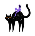 with black cat riding woman and space stars vector image
