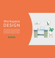 workspace interior design web vector image