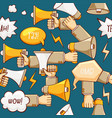 wow seamless pattern with megaphone vector image