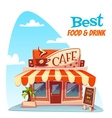 cafe building with bright vector image
