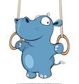 little hippo performing an Iron Cross Cartoon vector image