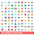 100 camera and film icons set cartoon style vector image