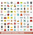 100 exercise journal icons set flat style vector image vector image